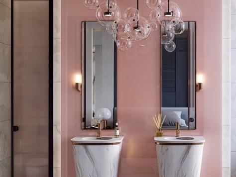 """Дизайн интерьера ванной в Оренбурге """"Розовые стильные ванные комнаты"""""""